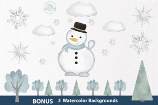Print on Demand: Snowman Clipart, Watercolor Winter Graphic Illustrations By clipArtem
