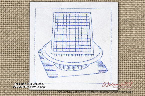 Solar Attic Fan Bluework House & Home Embroidery Design By Redwork101