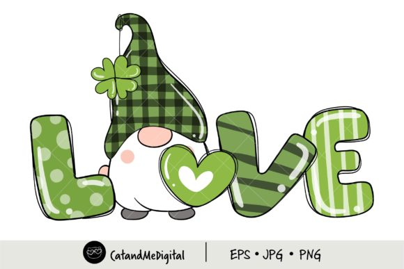 St Patricks Day Gnome Love. Graphic Illustrations By CatAndMe