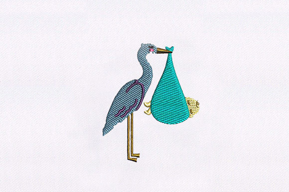 Stork with Baby Birds Embroidery Design By DigitEMB