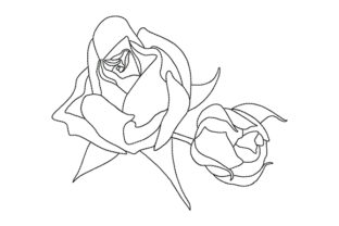 Print on Demand: Two Rose Buds Wedding Flowers Embroidery Design By EmbArt