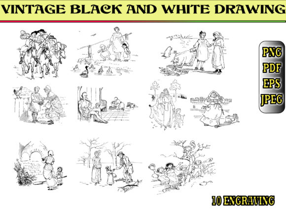 Print on Demand: VINTAGE BLACK and WHITE DRAWING Graphic Coloring Pages & Books Adults By kdp Edition