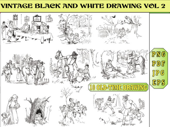 Print on Demand: VINTAGE BLACK and WHITE DRAWING VOLUME 2 Graphic Coloring Pages & Books Adults By kdp Edition