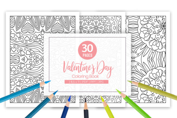Print on Demand: Valentine Coloring Pages for Adults Grafik Ausmalseiten & Malbücher für Erwachsene von doridodesign