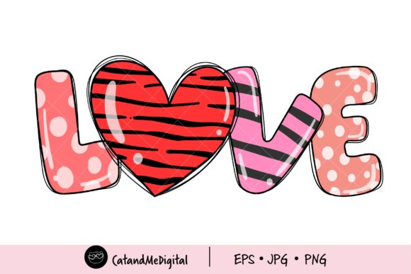 Valentine Love PNG Clipart. Graphic Illustrations By CatAndMe