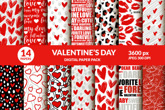 Valentines Day Digital Paper Kiss, Heart Graphic