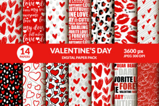 Valentines Day Digital Paper Kiss, Heart Graphic Illustrations By ilonitta.r