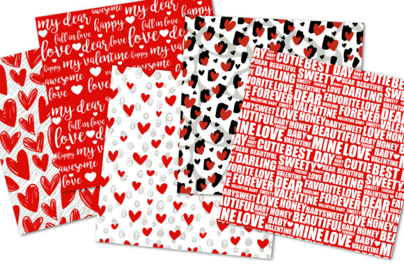Valentines Day Digital Paper Kiss, Heart Graphic Download