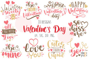 Print on Demand: Valentine's Day Quotes Bundle Graphic Crafts By dapiyupi