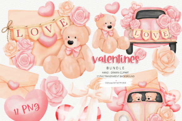 Valentine's Day Teddy Bear and VW Car Graphic Crafts By Chonnieartwork