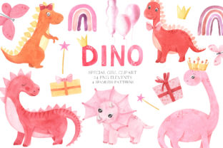 Watercolor Dinosaurs Girl Clipart Grafik Illustrationen von Larysa Zabrotskaya