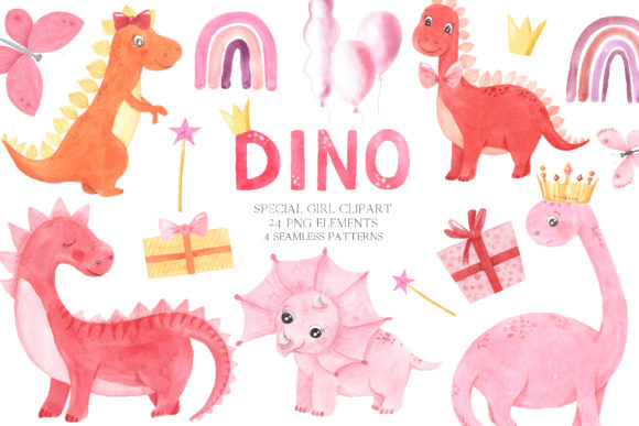 Watercolor Dinosaurs Girl Clipart Graphic Illustrations By Larysa Zabrotskaya