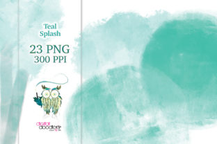 Print on Demand: Watercolor Teal Splash Graphics Graphic Textures By Digital Doodlers