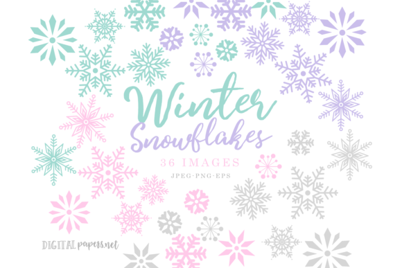 Print on Demand: Winter Snowflakes Clipart Set Graphic Illustrations By DigitalPapers