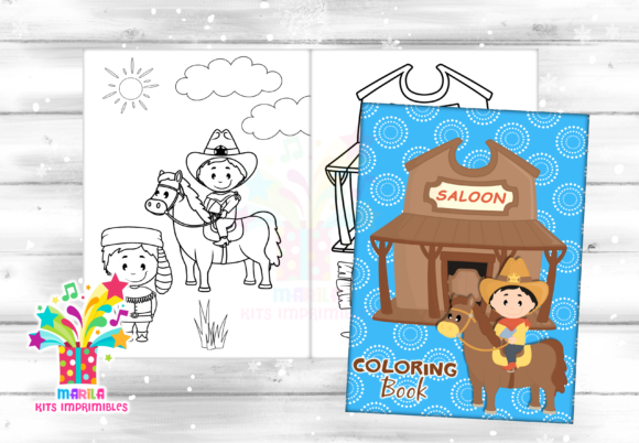 Coloring Book COWBOY - Pdf Graphic Coloring Pages & Books Kids By marilakits