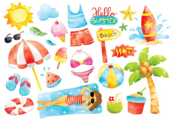 Summer Doodle Digital Water Color Grafik Illustrationen von Big Barn Doodles