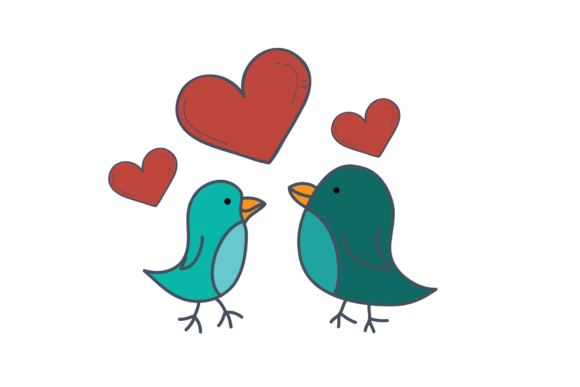 Print on Demand: Valentines Love Bird with Heart Svg Grafik Illustrationen von Genta Illustration Studio