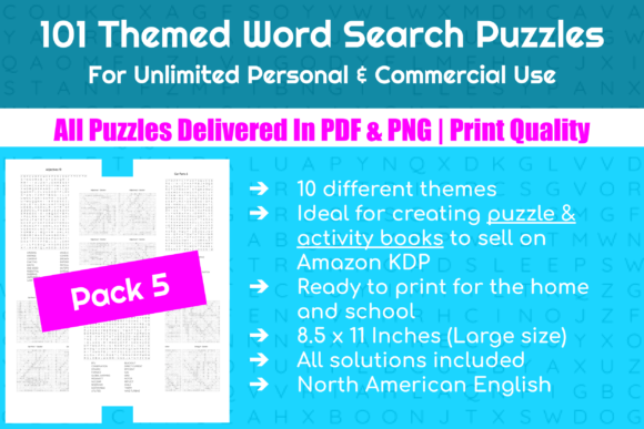 101 Themed Word Search Puzzles | Pack 5 Graphic Crafts By Take It And Teach