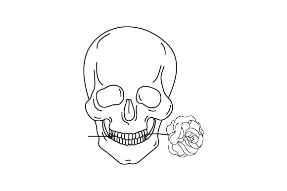 Skull with Rose Cut File Download