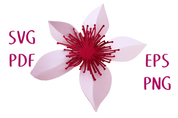 3D Flower with Stamens SVG Cut File Graphic 3D Flowers By Nic Squirrell