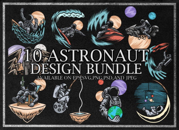 Print on Demand: Astronaut Design Bundle Graphic Illustrations By fluffyartstudio