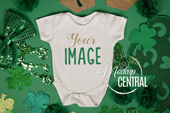 Baby St. Patrick's Onepiece Bodysuit Graphic Product Mockups By Mockup Central