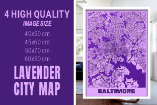 Baltimore - Maryland Lavender City Map Graphic Photos By pacitymap