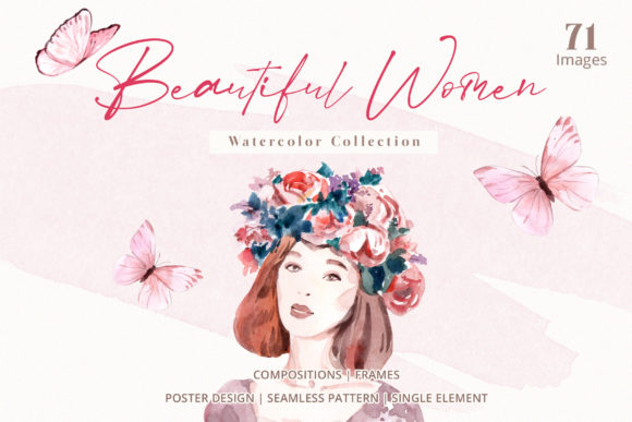 Beautiful Women & Nature Decoration Graphic Illustrations By WatercolorEps