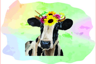 Black & White Watercolor Cow Sunflowers Graphic Crafts By AlaBala