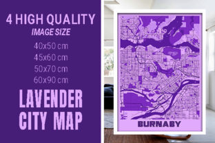 Burnaby - Canada Lavender City Map Graphic Photos By pacitymap