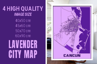 Cancun - Mexico Lavender City Map Graphic Photos By pacitymap
