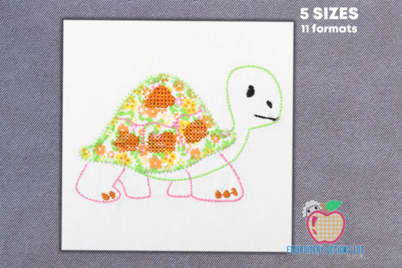Cartoon Tortoise Applique for Kids Reptiles Embroidery Design By embroiderydesigns101