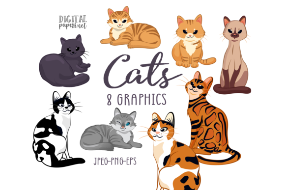 Print on Demand: Cats Clipart Set Graphic Illustrations By DigitalPapers