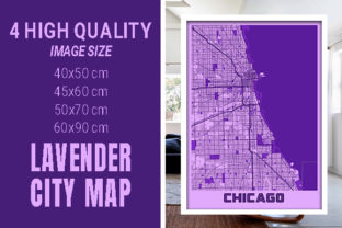 Chicago - Illinois Lavender City Map Graphic Photos By pacitymap