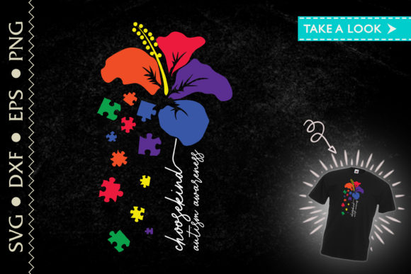 Print on Demand: Choose Kind Autism Awareness Flower Graphic Crafts By Tweetii