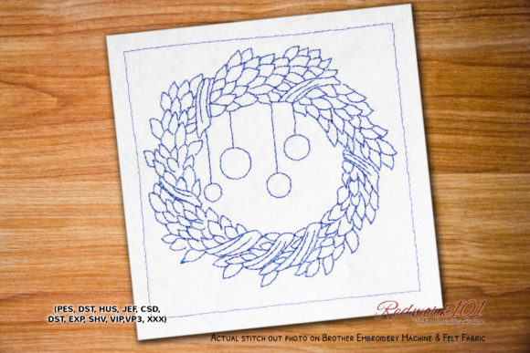 Christmas Wreath Bluework Floral Wreaths Embroidery Design By Redwork101