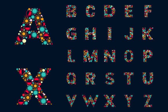 Colorful Monogram Alphabet Letters Graphic Illustrations By medelwardi