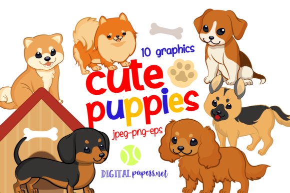 Print on Demand: Cute Puppies Graphic Illustrations By DigitalPapers