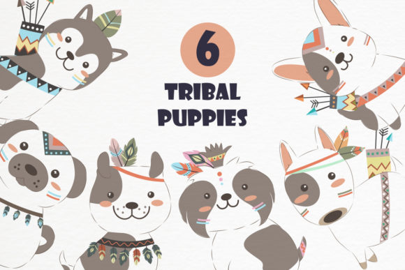 Cute Tribal Puppies Clipart Set Graphic Illustrations By DrawStudio1988