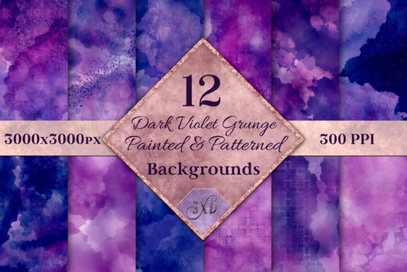 Print on Demand: Dark Violet Grunge Painted Backgrounds Graphic Backgrounds By SapphireXDesigns