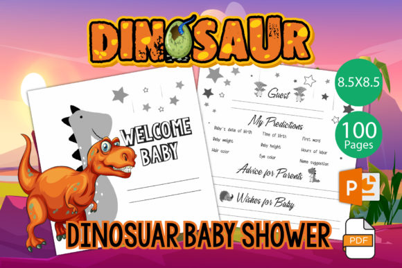 Print on Demand: Dinosaur Baby Shower Guest Book for KDP Graphic KDP Interiors By IsaraDesign