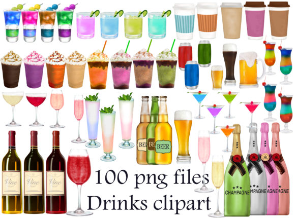 Print on Demand: Drinks Clipart, Party Drink Clipart Gráfico Ilustraciones Por Stickerica Shop