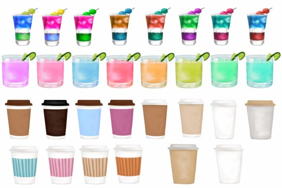 Drinks Clipart, Party Drink Clipart Graphic Design