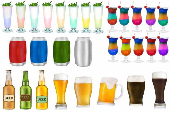 Drinks Clipart, Party Drink Clipart Graphic Image