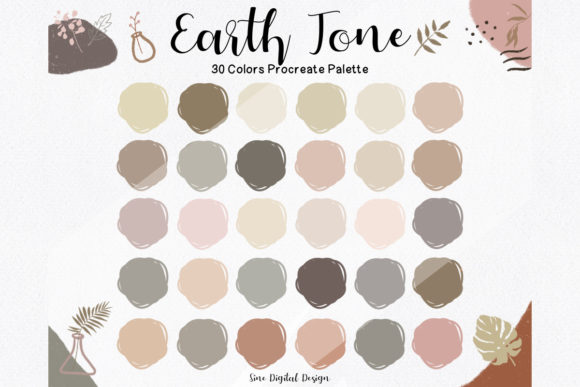 Print on Demand: Earth Tone Color Palette for Procreate Graphic Add-ons By SineDigitalDesign