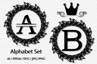 Print on Demand: Family Monogram with a Wreath Graphic Crafts By lesinka