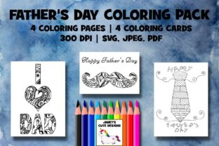 Print on Demand: Father's Day Coloring Pack Graphic Coloring Pages & Books By Janet's Cute Designs