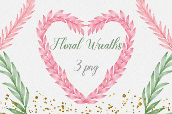 Floral Heart Wreaths Watercolor Clipart Graphic Illustrations By PinkPearly