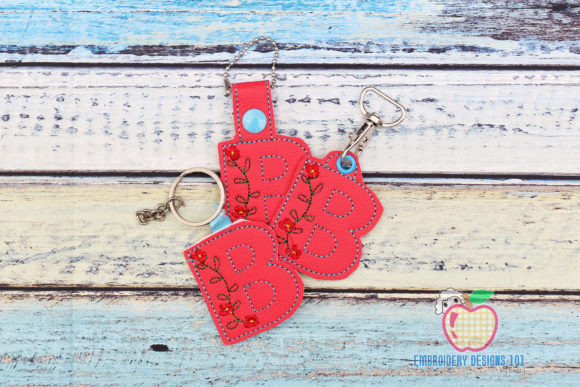 Floral Initial Letter B ITH Key Fob Körbe Stickdesign von embroiderydesigns101
