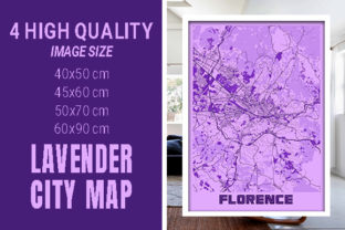 Florence - Italy Lavender City Map Graphic Photos By pacitymap